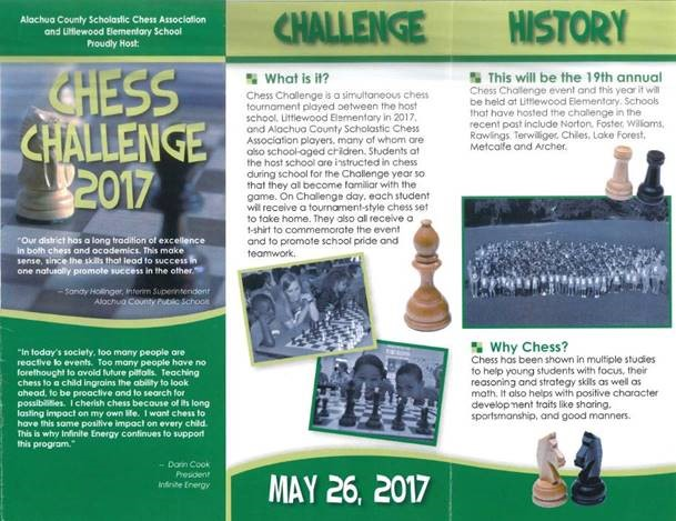 Advertisment for the Alachua County Scholastic Association's Chess challenge 2017.