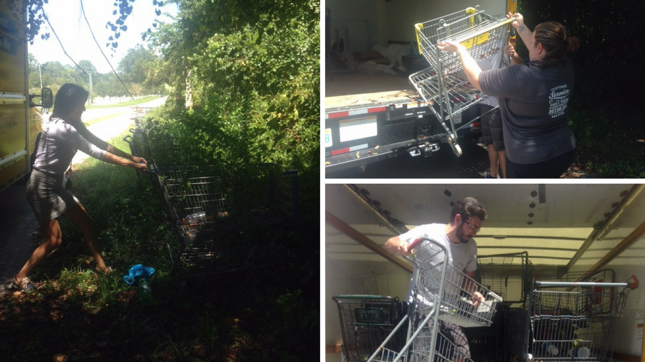 Collier Team members collecting abandoned shopping carts as part of their community outreach initiative