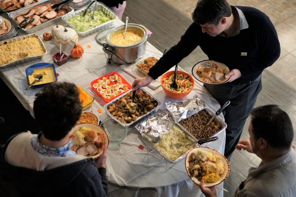 TCC Thanksgiving Potluck Spread is shown from above