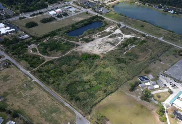 Image shows aerial view of upcoming Port Orange community