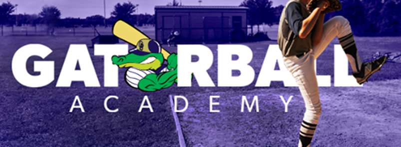 The Gatorball Academy logo is shown with a baseball player preparing to throw a pitch